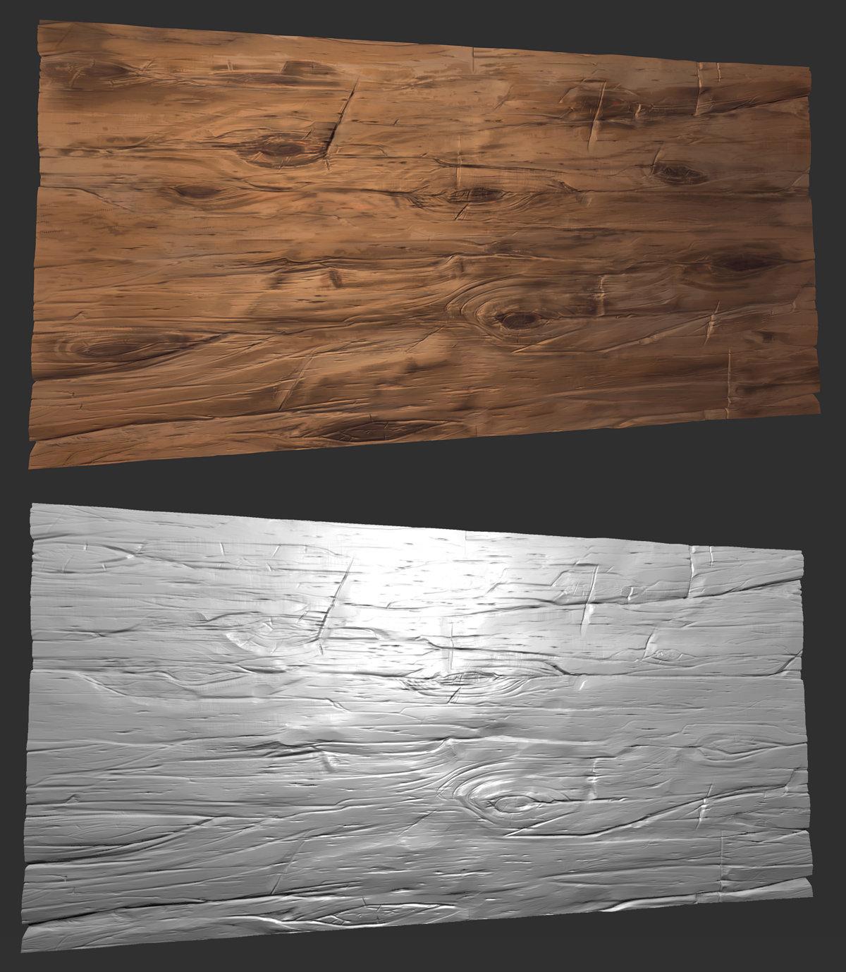 ArtStation - Stylized wood sculpt tiled texture - Zbrush