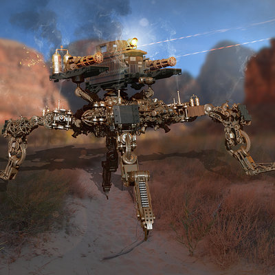 Timothy klanderud tims steampunk mech base bpr render copy