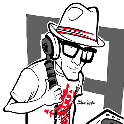 Steve rampton dj got rai caricature