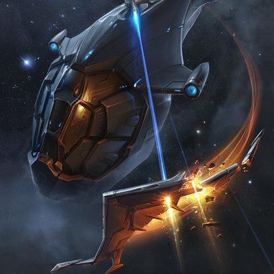 Sviatoslav gerasimchuk sci fi ship attack