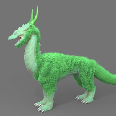 Josh purple dragon with green hair