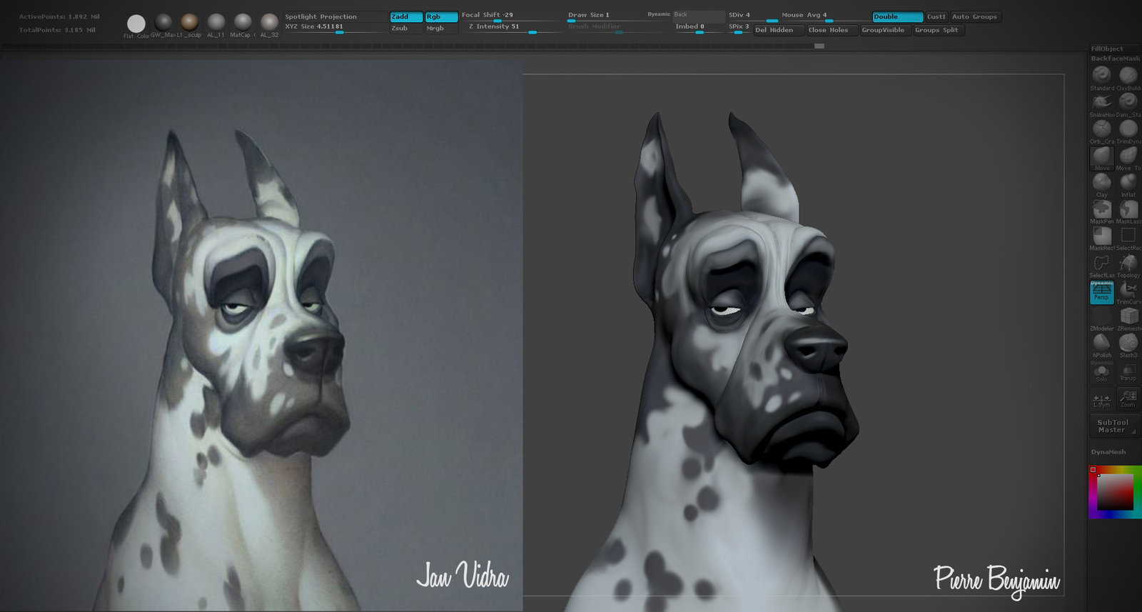 Great Dane Rex, Speed sculpt WIP, inspired by a 2D concept by Jan Vidra