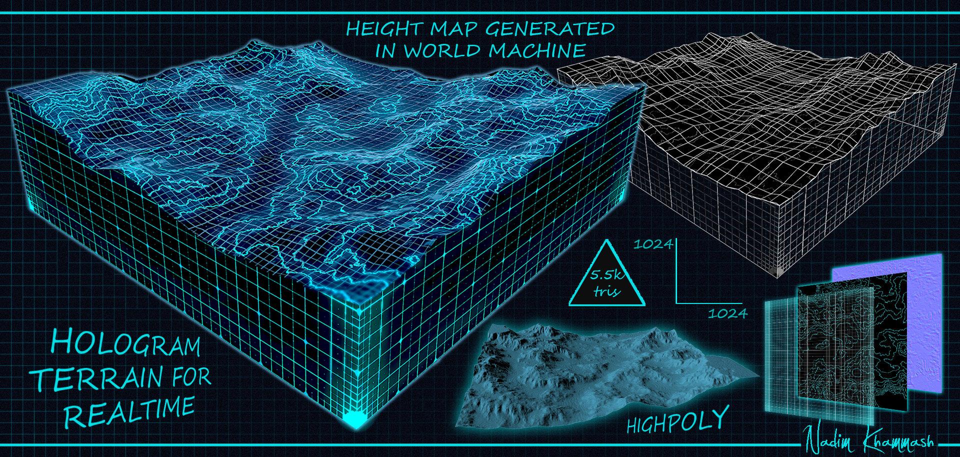 ArtStation Terrain Hologram Real Time Nadim Khammash - World heightmap