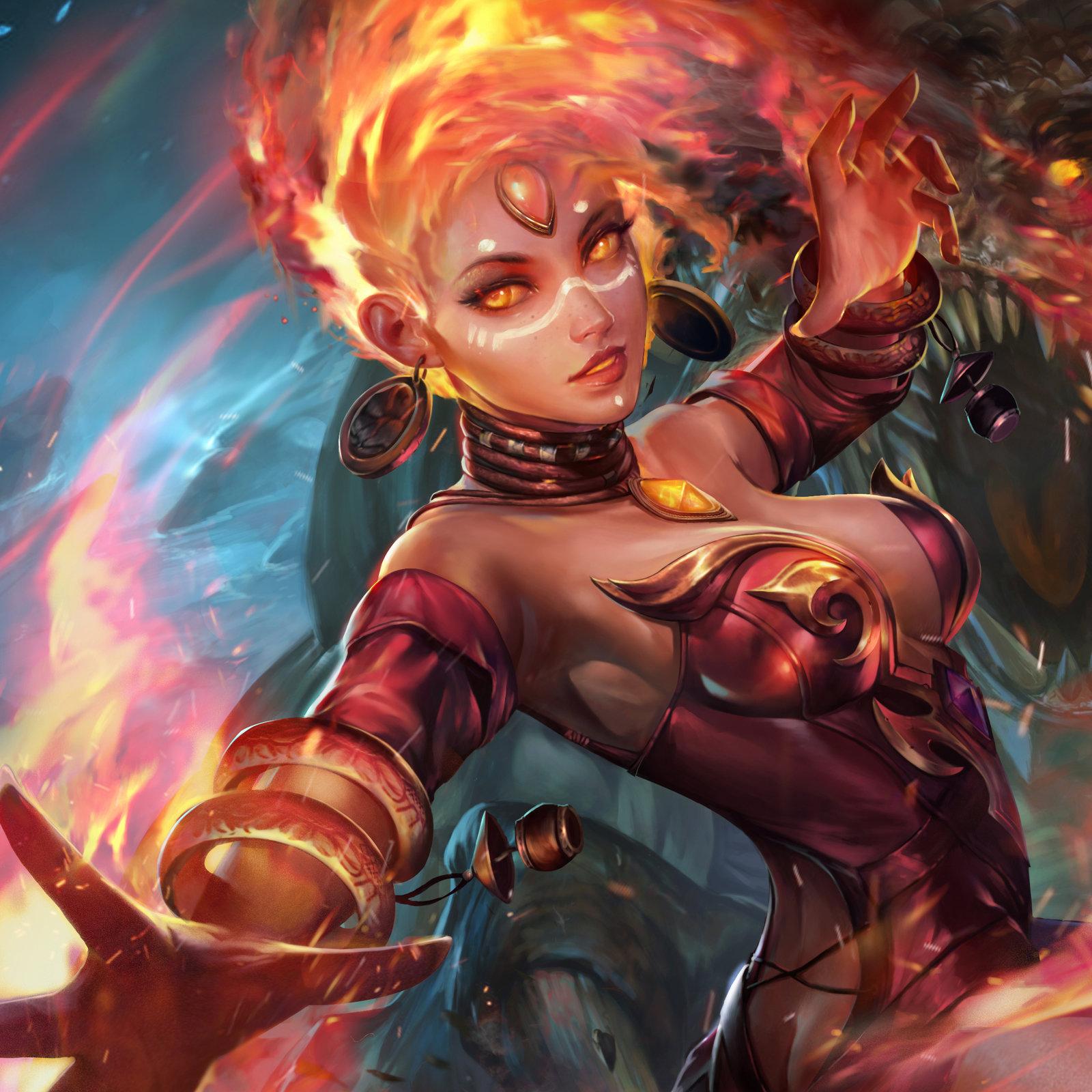 Wallpaper lightning, girl, art, fire, Lina the Slayer, Dota 2 ...