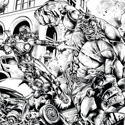 Matt james ironman vs hulk inks by mattjamescomicarts d71kr3q