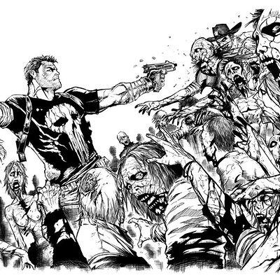 Matt james frank castle vs the walking dead 2 inks by outlaw68 d6yvhd1