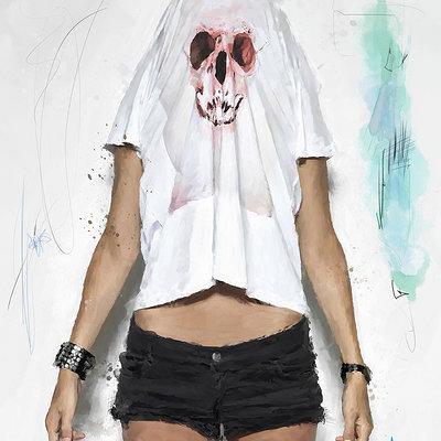 Solo art skull tee1200