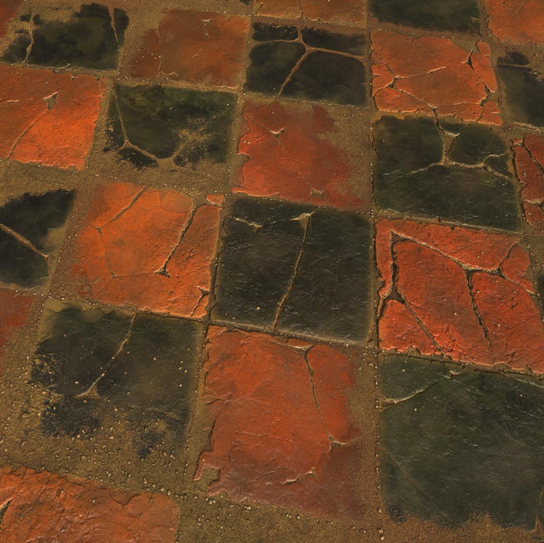 Substance_Designer - 100% procedural Worn Stone Floor Tiles