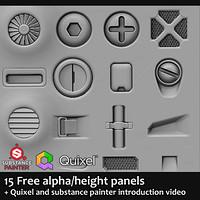 ArtStation - 20 Free Hardsurface Height/Alphas, jonas ronnegard