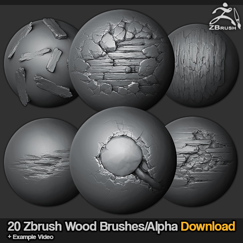 ArtStation - 20 Zbrush sculpted wood brushes, jonas ronnegard