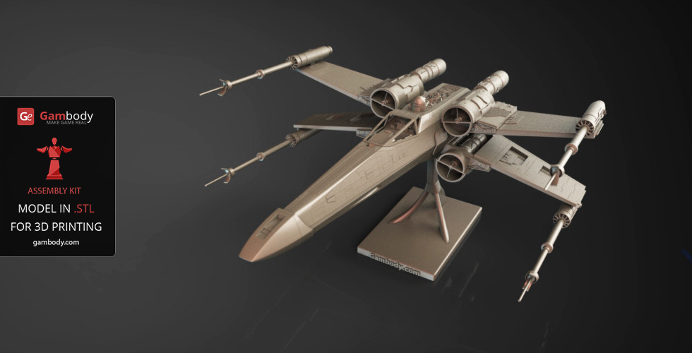 x wing starfighter 3d printer files assembly model