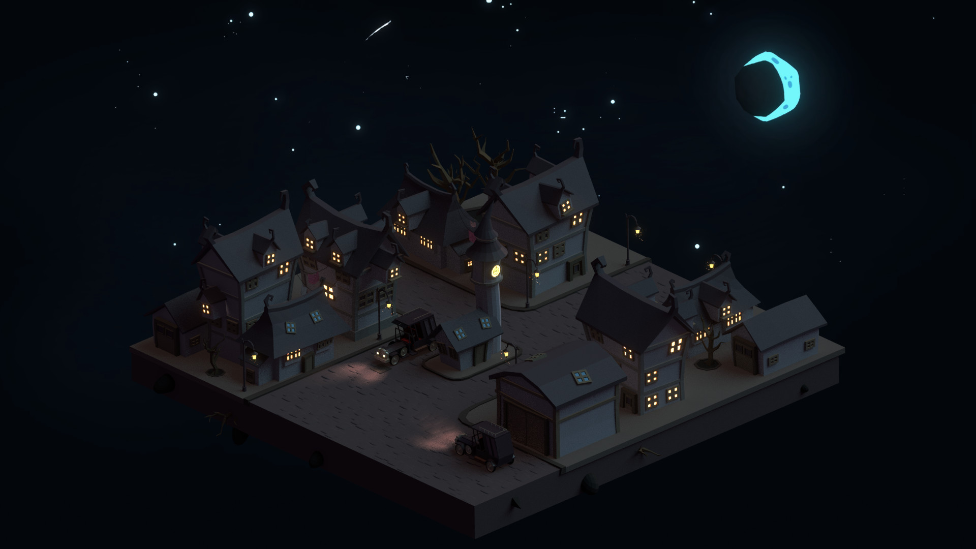 Artstation Low Poly Dark Town Mohamed Chahin