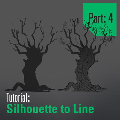 Tim kaminski tutorial trees sillhouette to line part 4 artstation