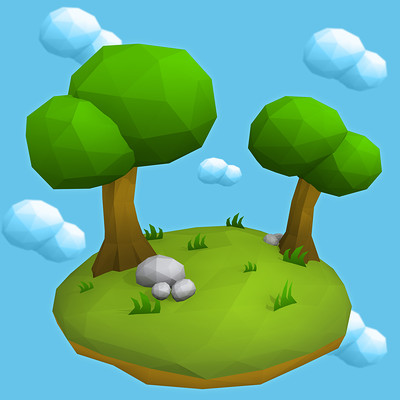 Floating Low Poly Tree Island