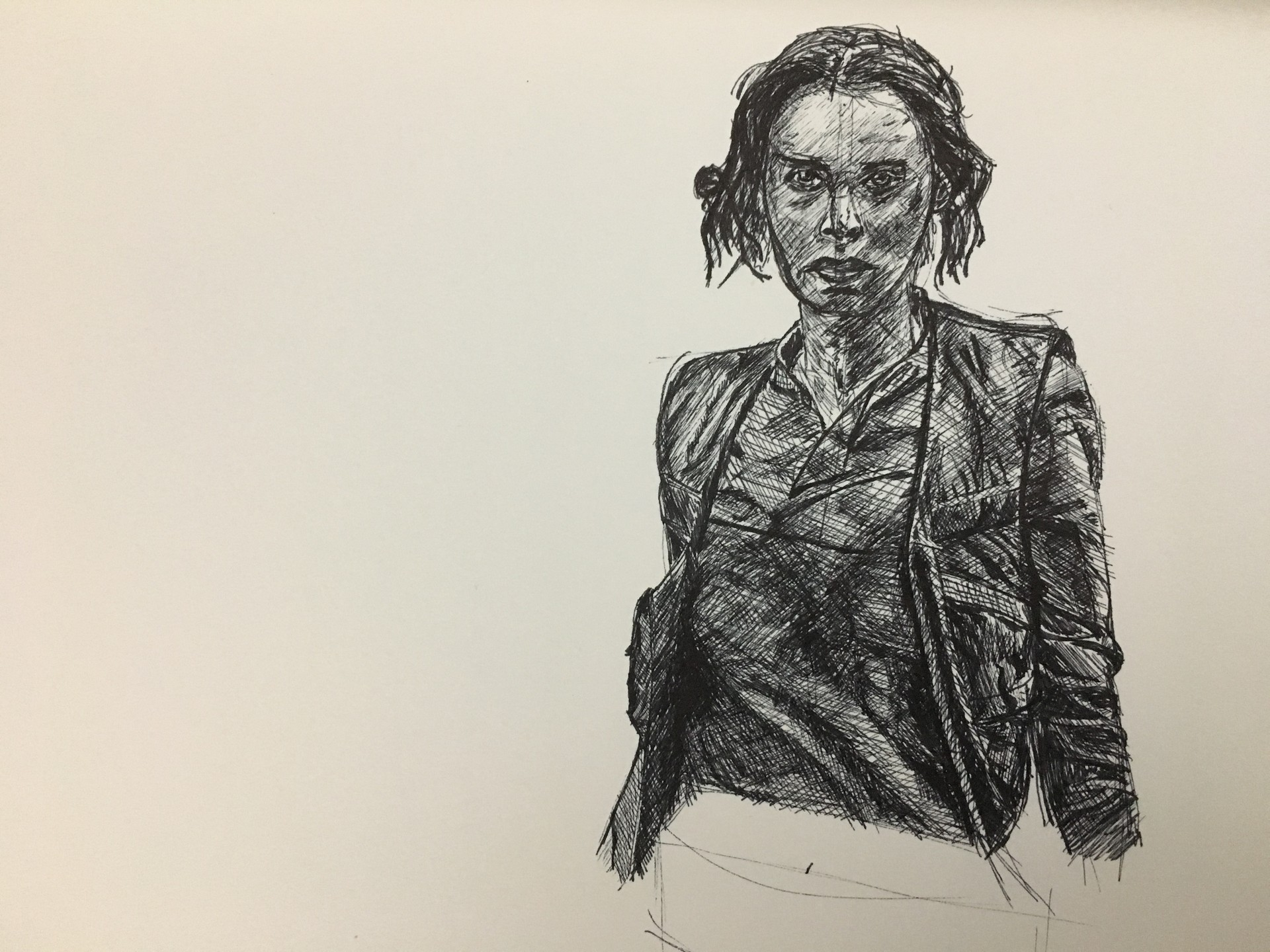 Artstation Day 5 Of 100 Days Of Star Wars In Ink Summer Challenge Jyn Erso Drawing Mike Dunn