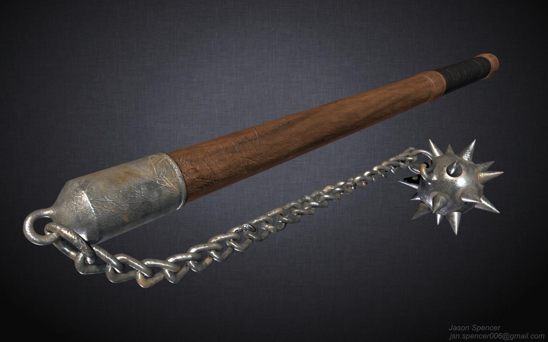 artstation medieval flail weapon jason spencer
