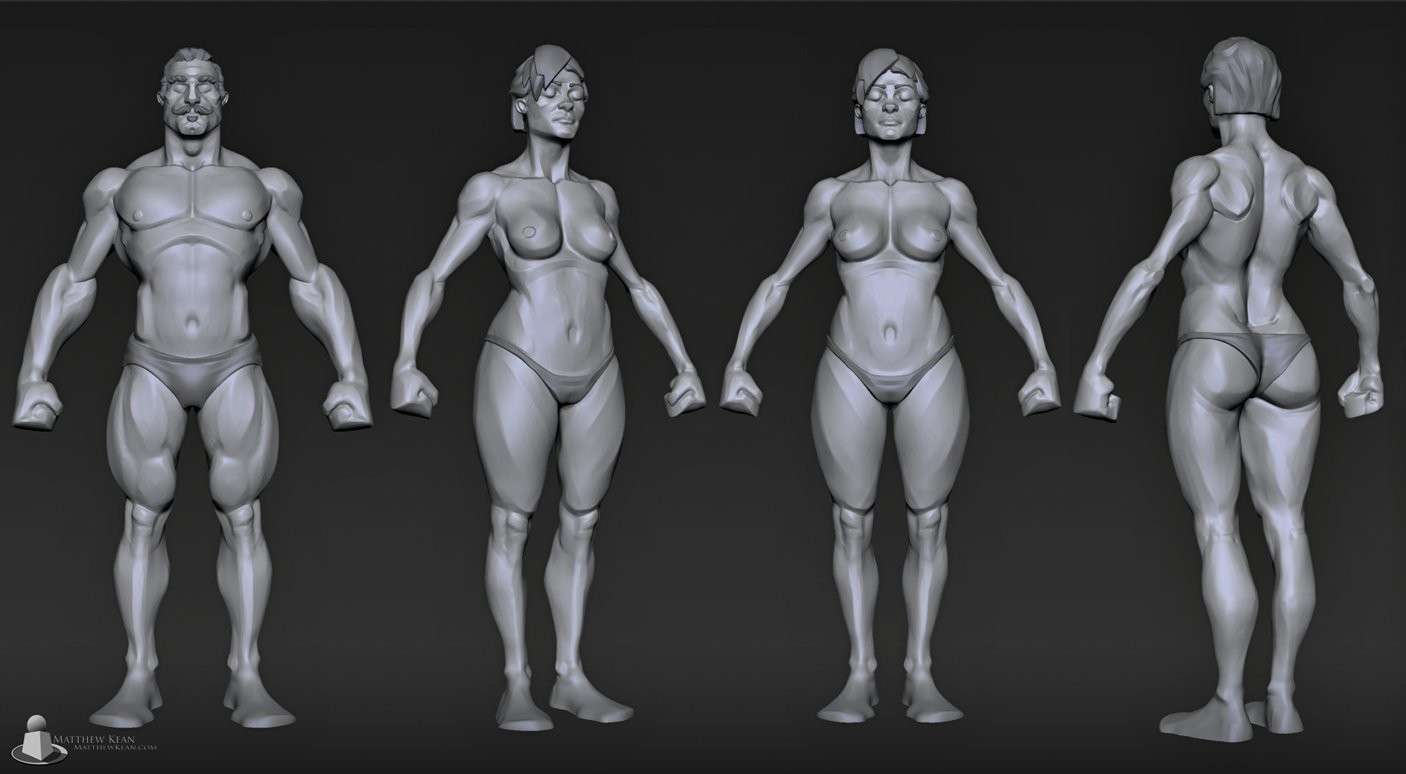 stylized male and female from a sphere w/ videos