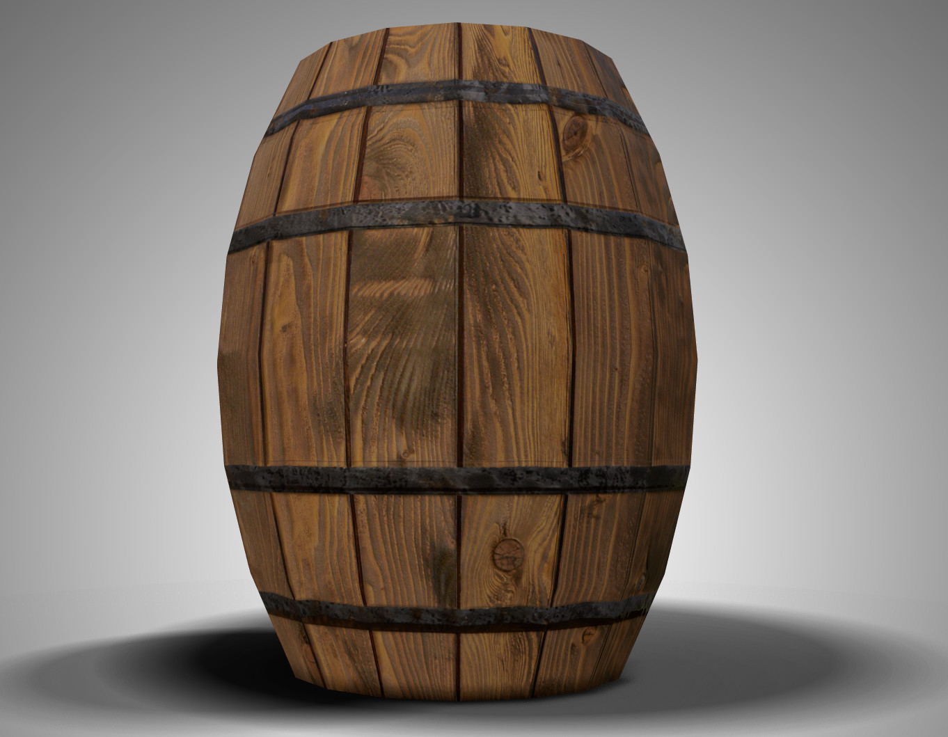 Game Ready Low Poly Barrel 01