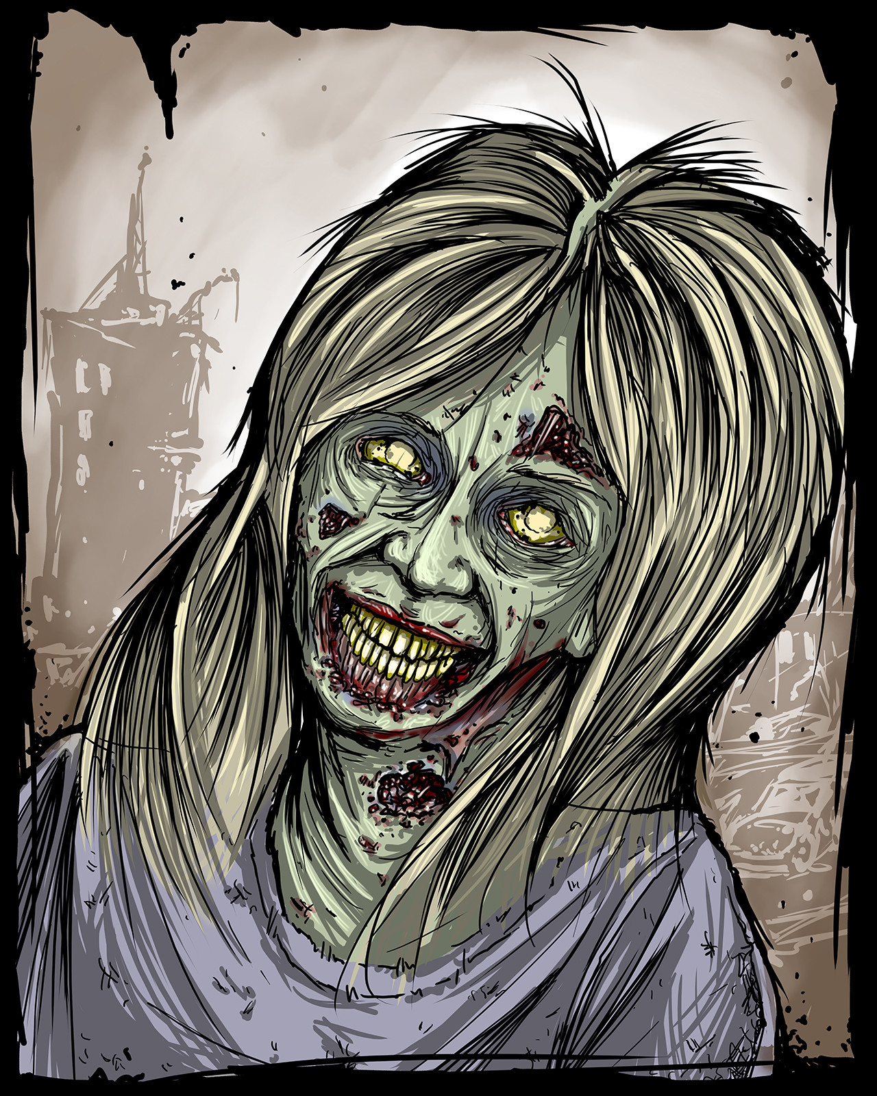 Zombie portrait of scream queen Linnea Quigley