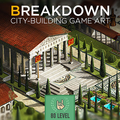 Сity-building game art