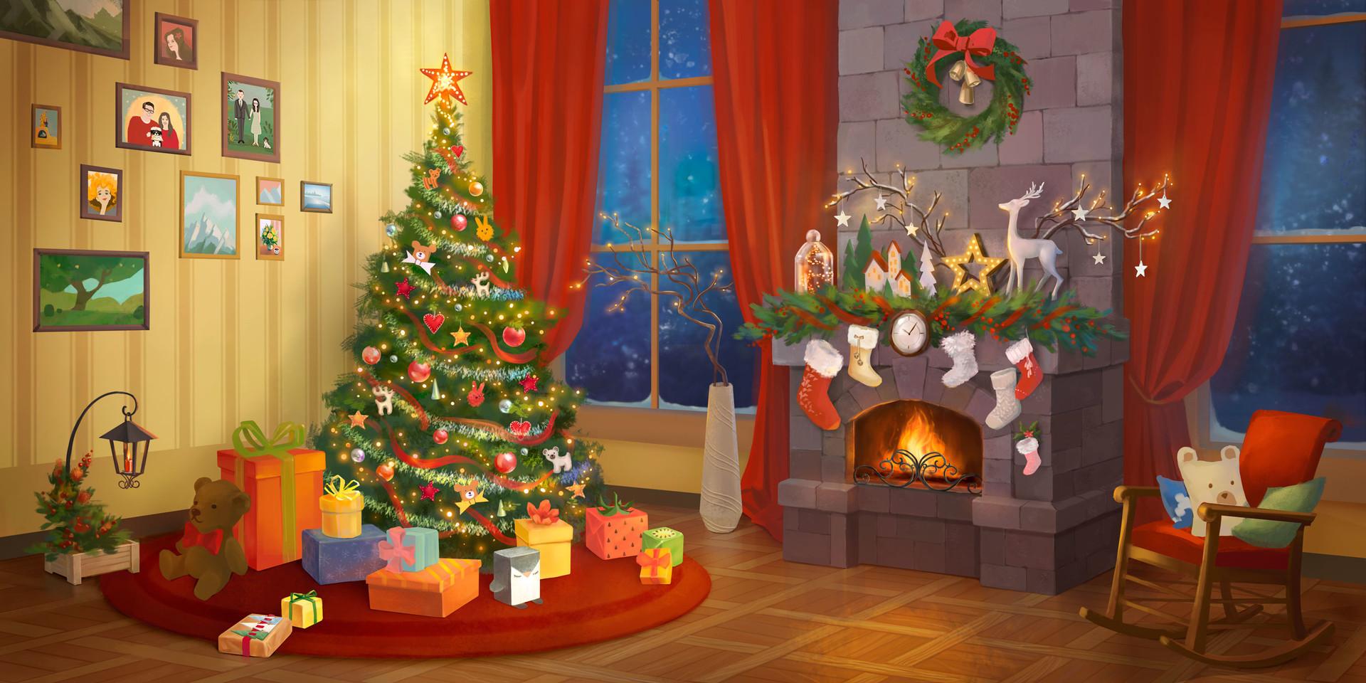 ArtStation - Christmas interior scene, Maria Romanova