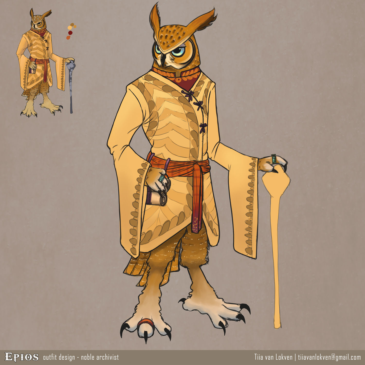 Epios outfit design: court archivist