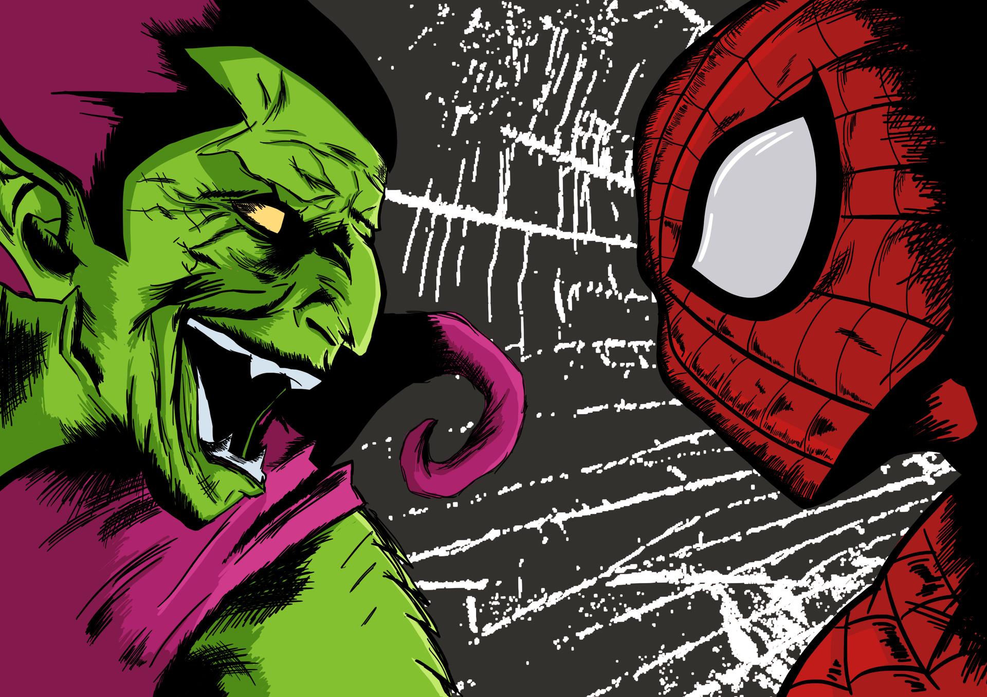 Artstation Spiderman Vs Duende Verde Daniel Chavez