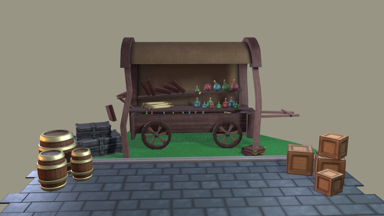 Fantasy Merchant Cart
