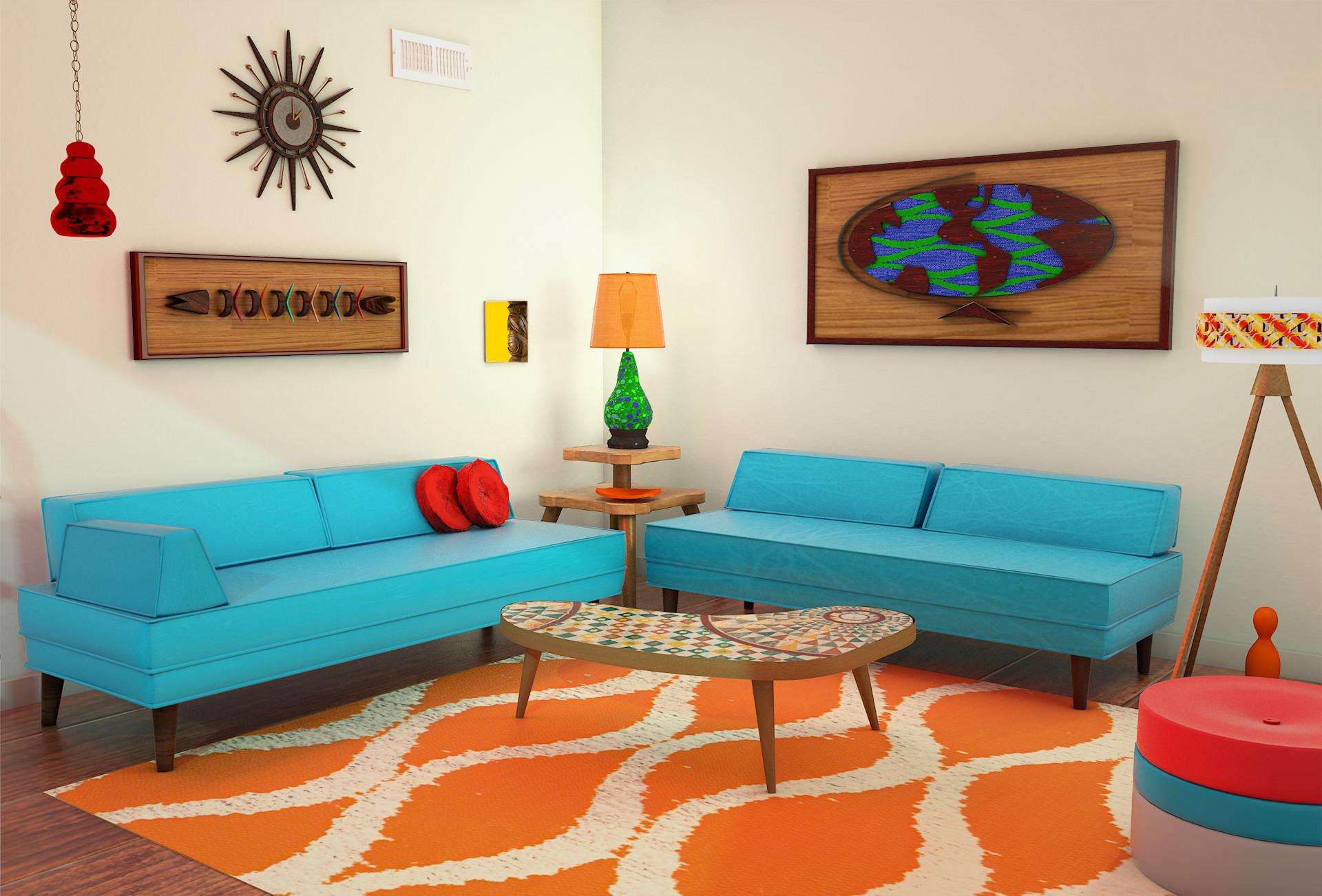 Artstation 3d 70 S Living Room Doug Fahl