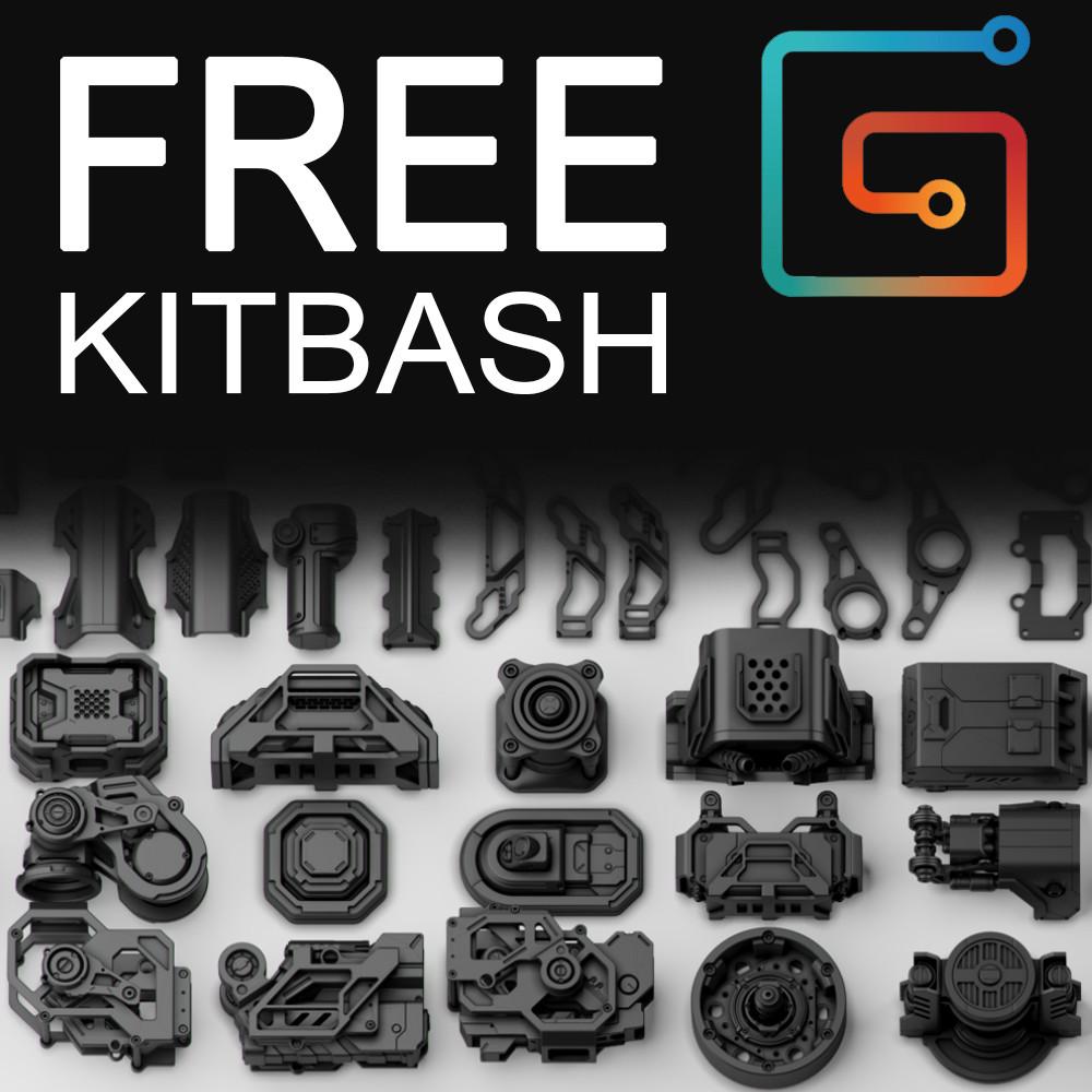 ArtStation - FREE Hard Surface Kitbash Vol 1, Oleg Ushenok