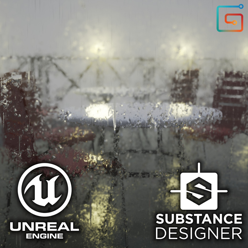 Real-time Rain Material - Cafeteria Scene