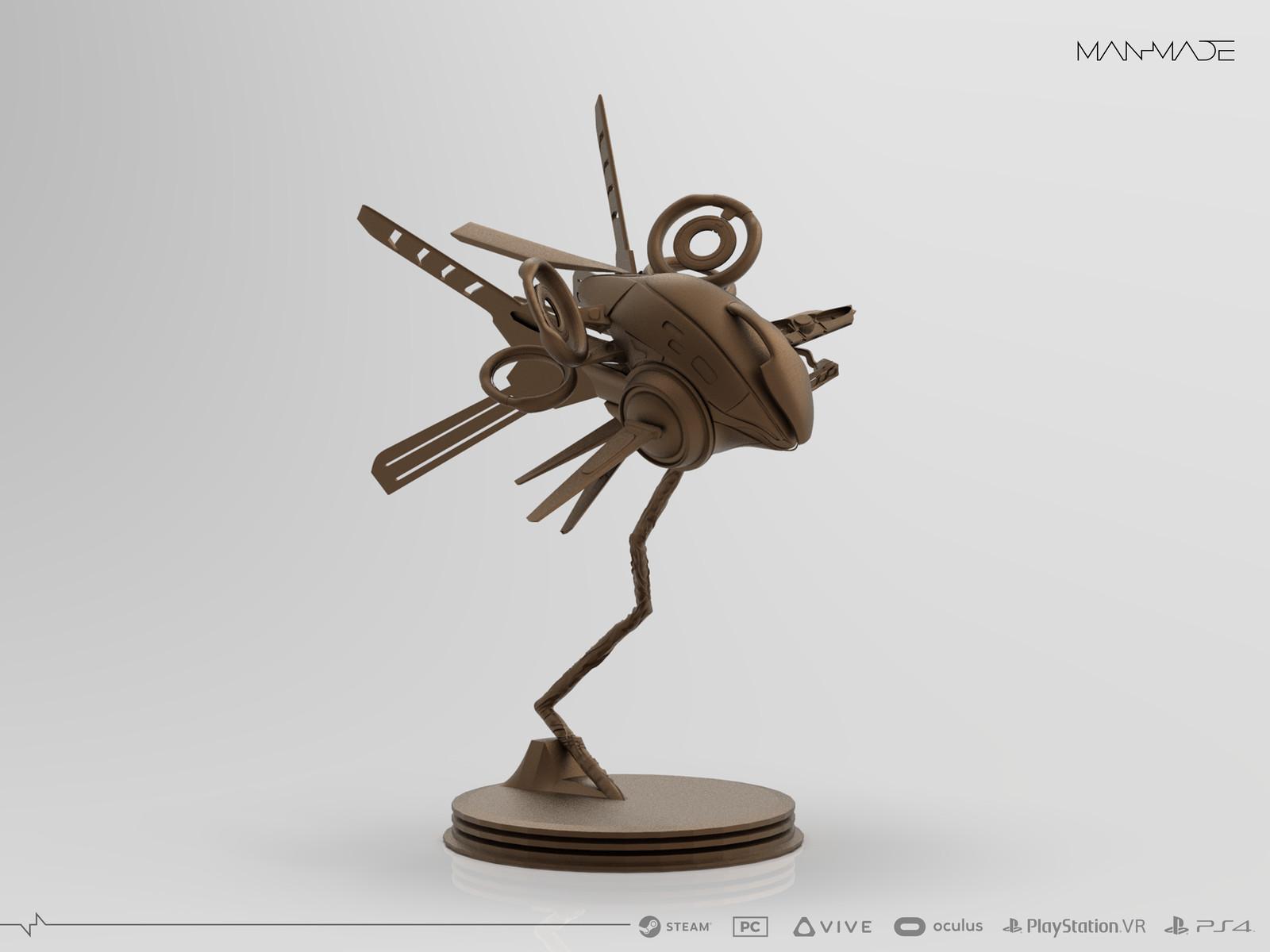 Drone Statue Design for Kickstarter Reward for ManMade: SciFi Action Adventure Game (12cm)