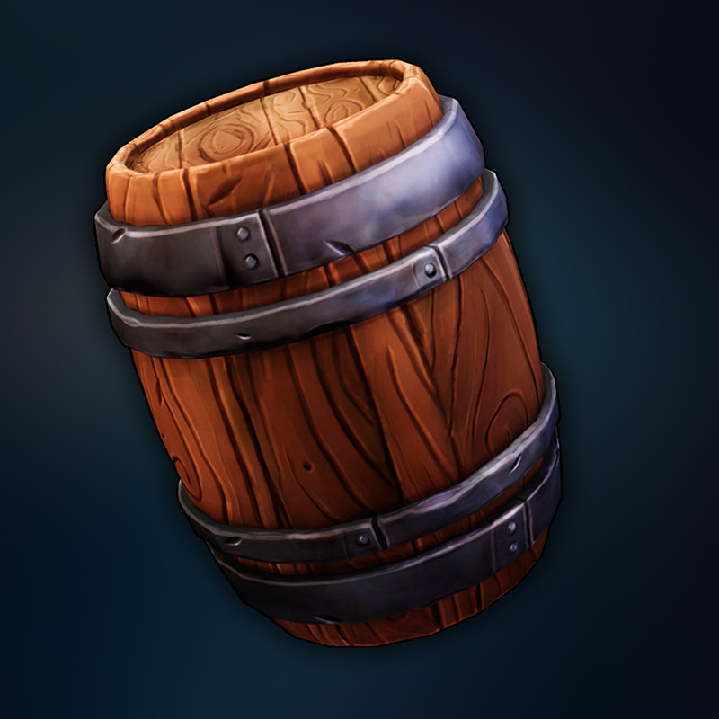 Stylized Wooden Barrel Prop