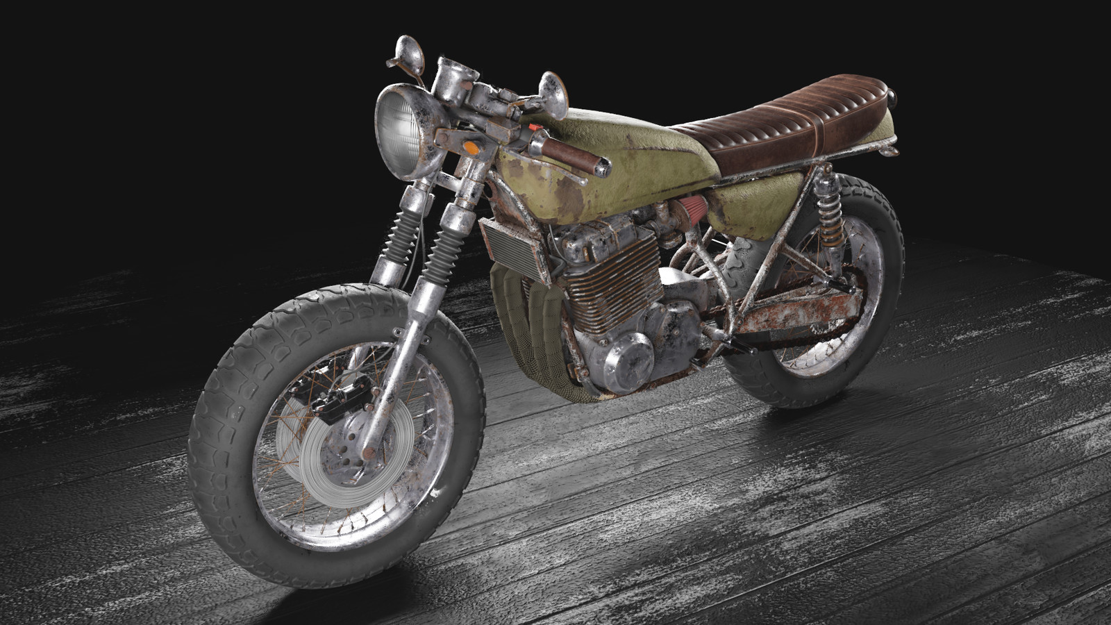 Post-apocalyptic cafe racer motorcycle