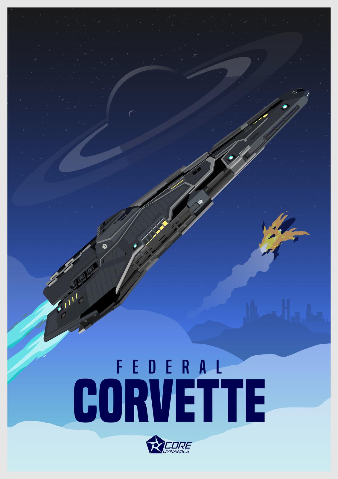 Elite Dangerous - Federal Corvette Poster