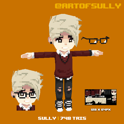 Lowpoly Pixel Sully Avatar