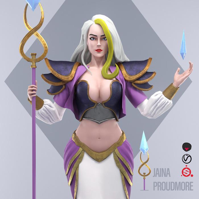 吉安娜立绘 Jaina Proudmoore in 3D