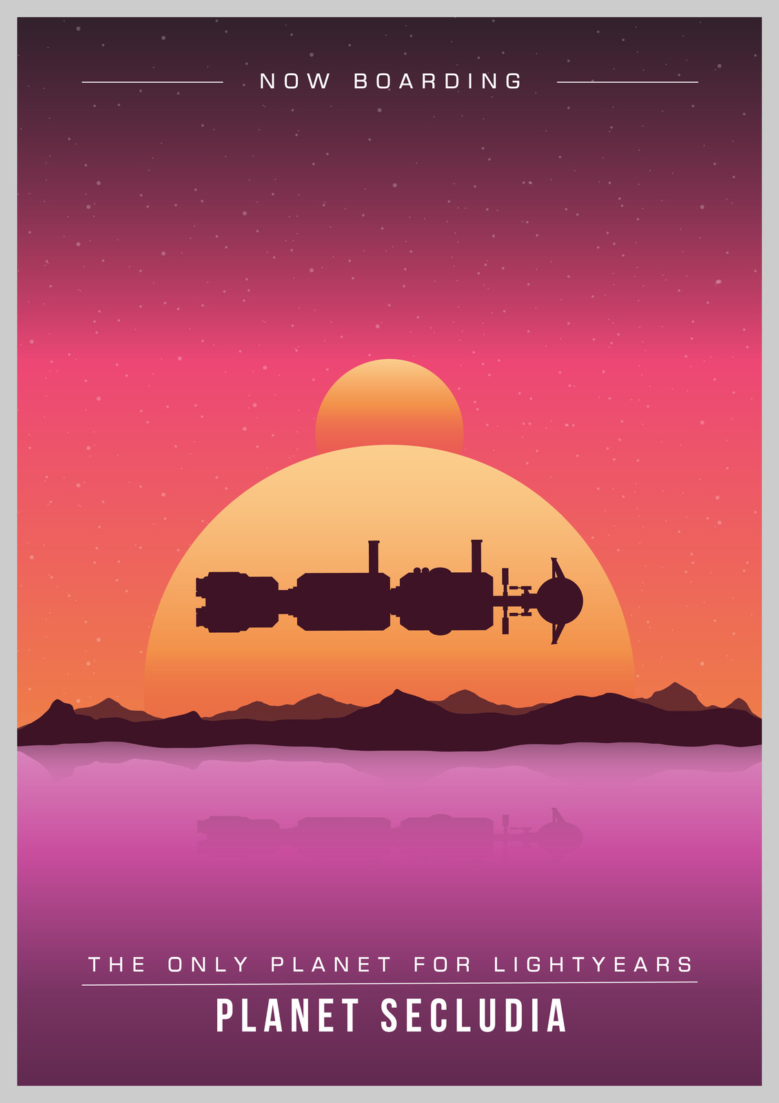 Space age tourism poster - Planet Secludia