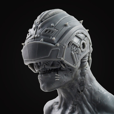 Cyborg Resin Bust