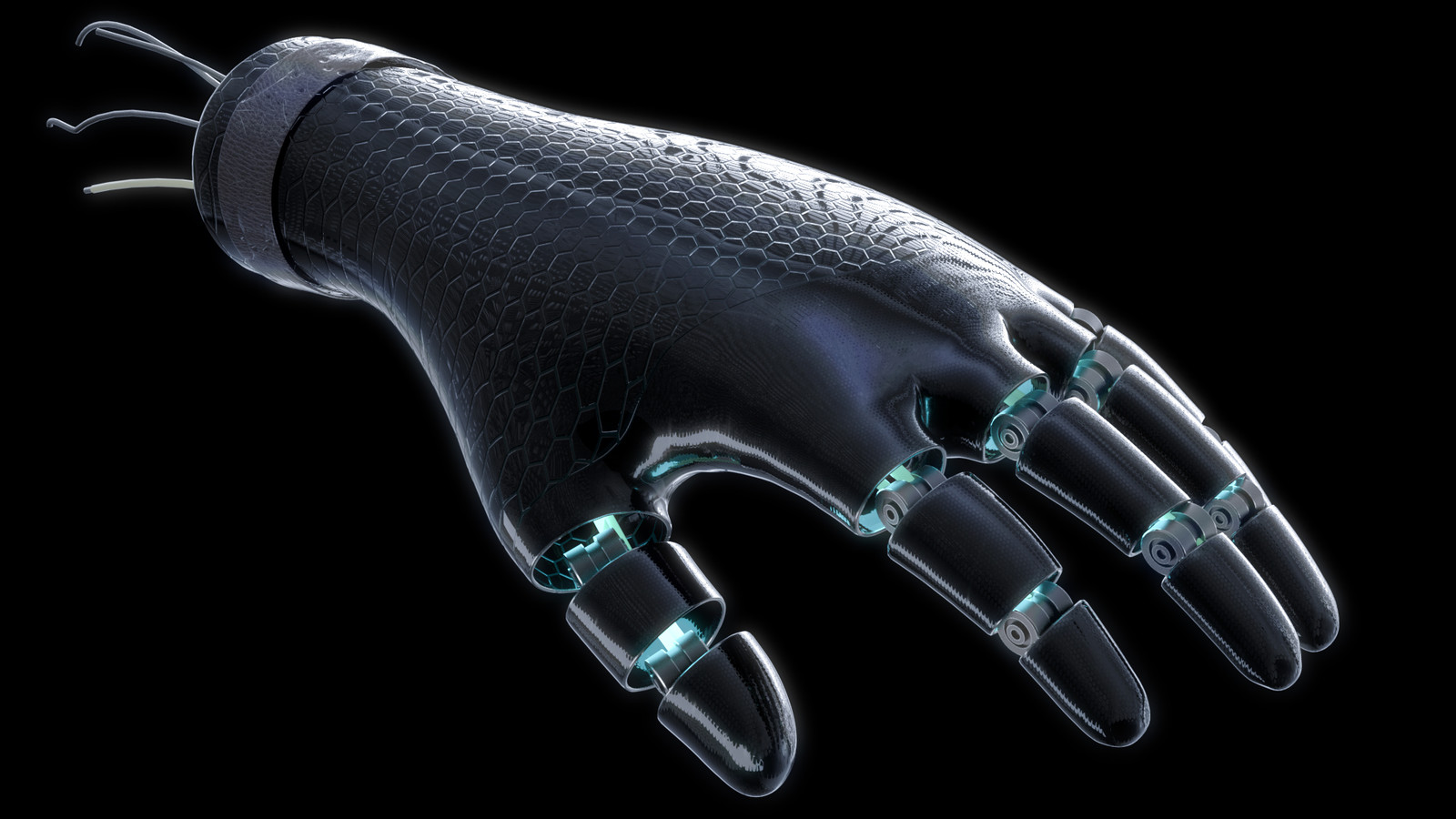 Cyborg prosthetic hand rendered in Redshift with Cinema 4D