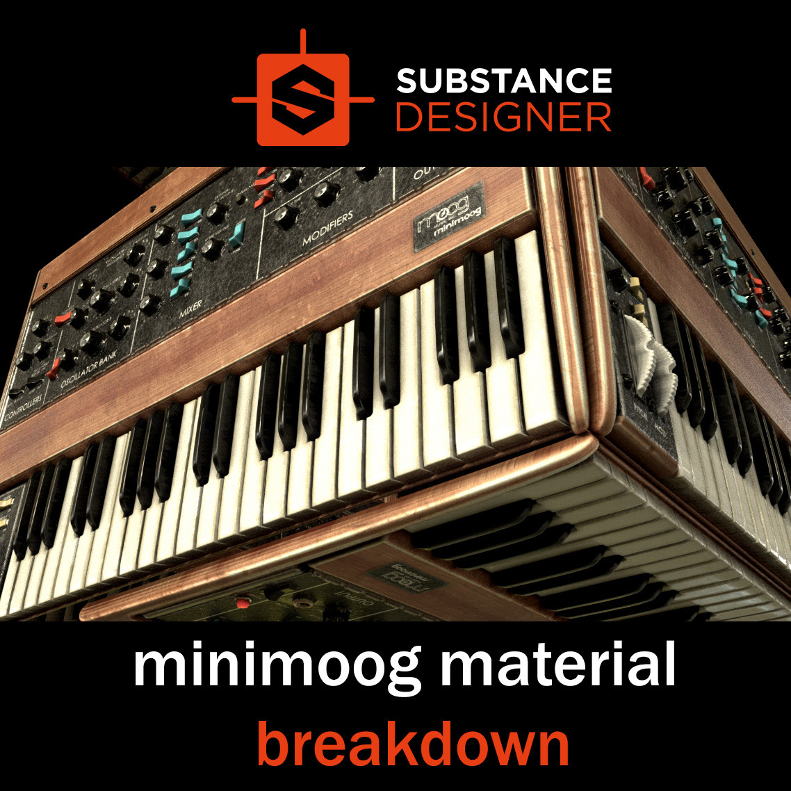 Minimoog material Breakdown - 100% Substance Designer