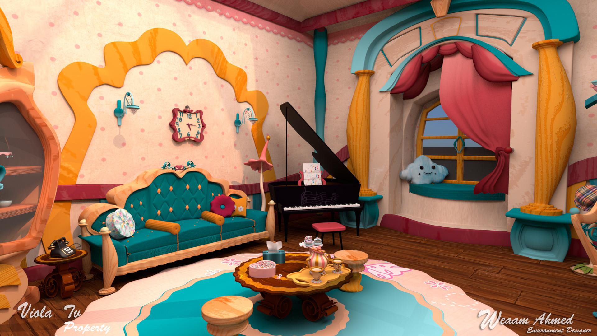 Artstation Living Room For 3d Cartoon Rhymes Weaam Khatab