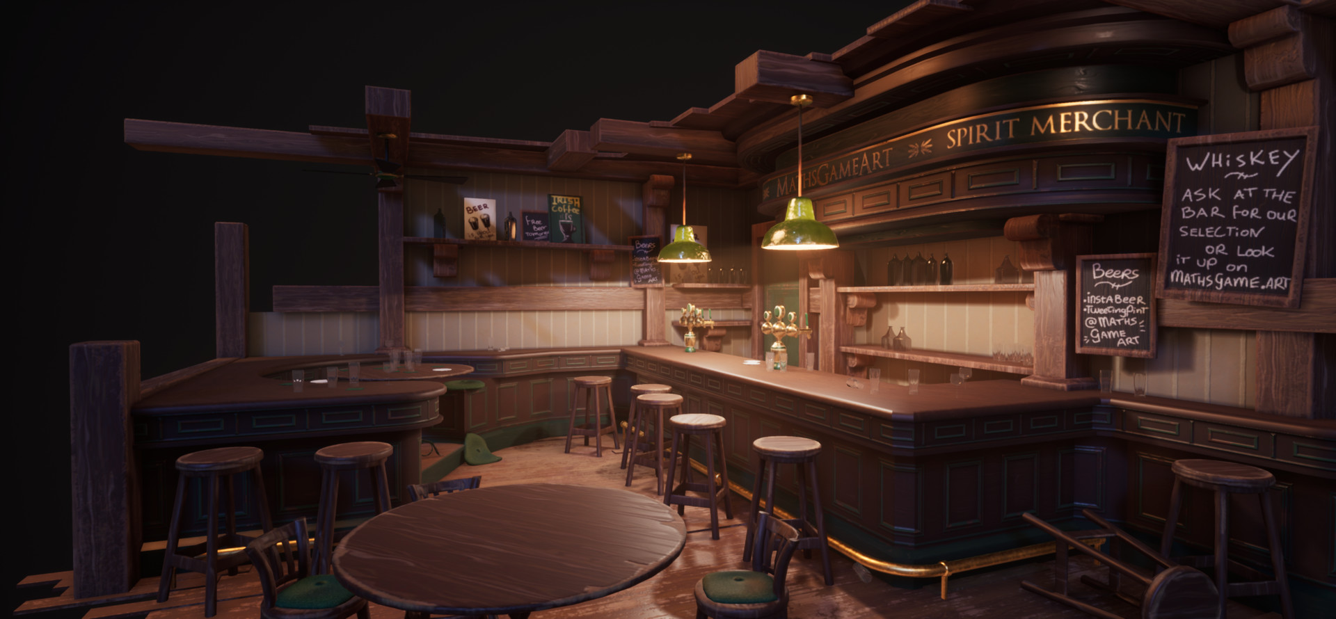Artstation irish pub pbr interior diorama math roodhuizen