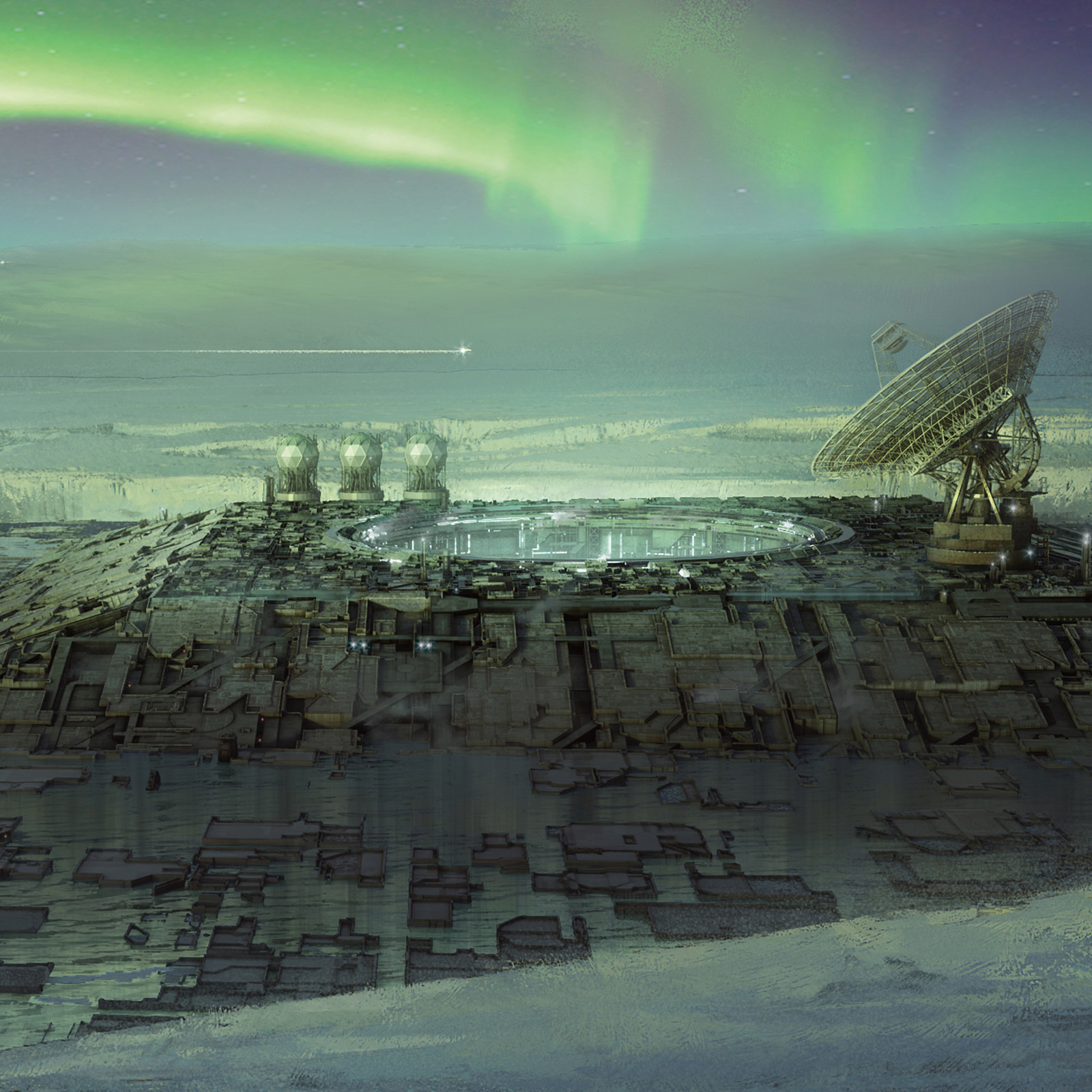 Arctic city / Aurora borealis
