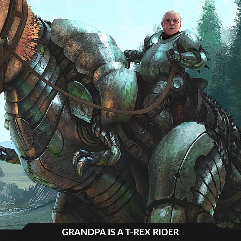 Grandpa is a T-rex rider