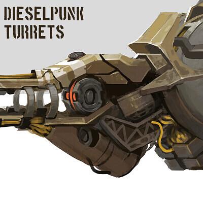 Dieselpunk Turret Weapon Designs