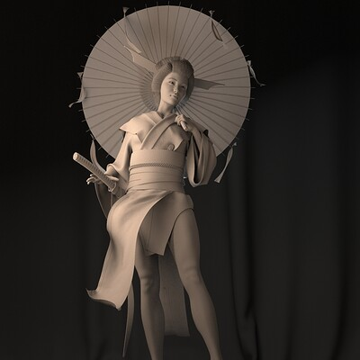 ArtStation Challenge - Feudal Japan: Geisha Warrior