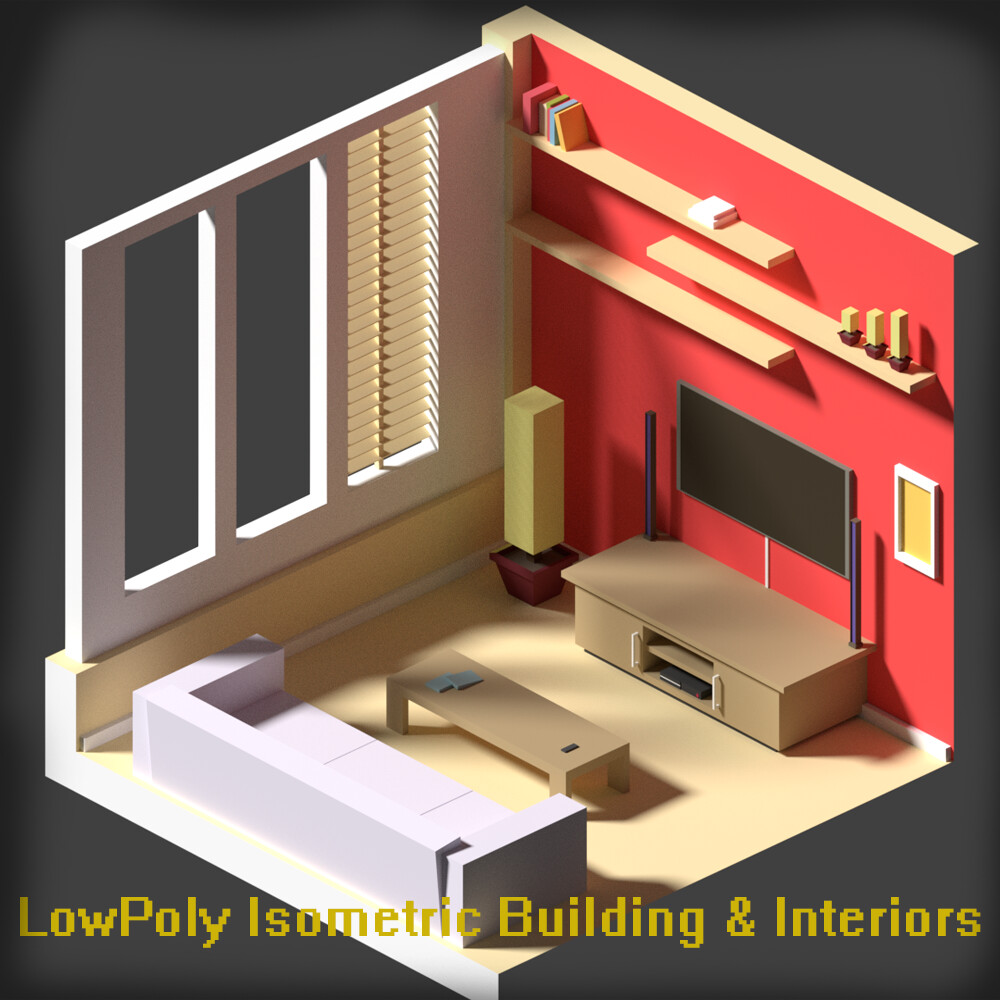 LowPoly Isometric Buildings and Interiors