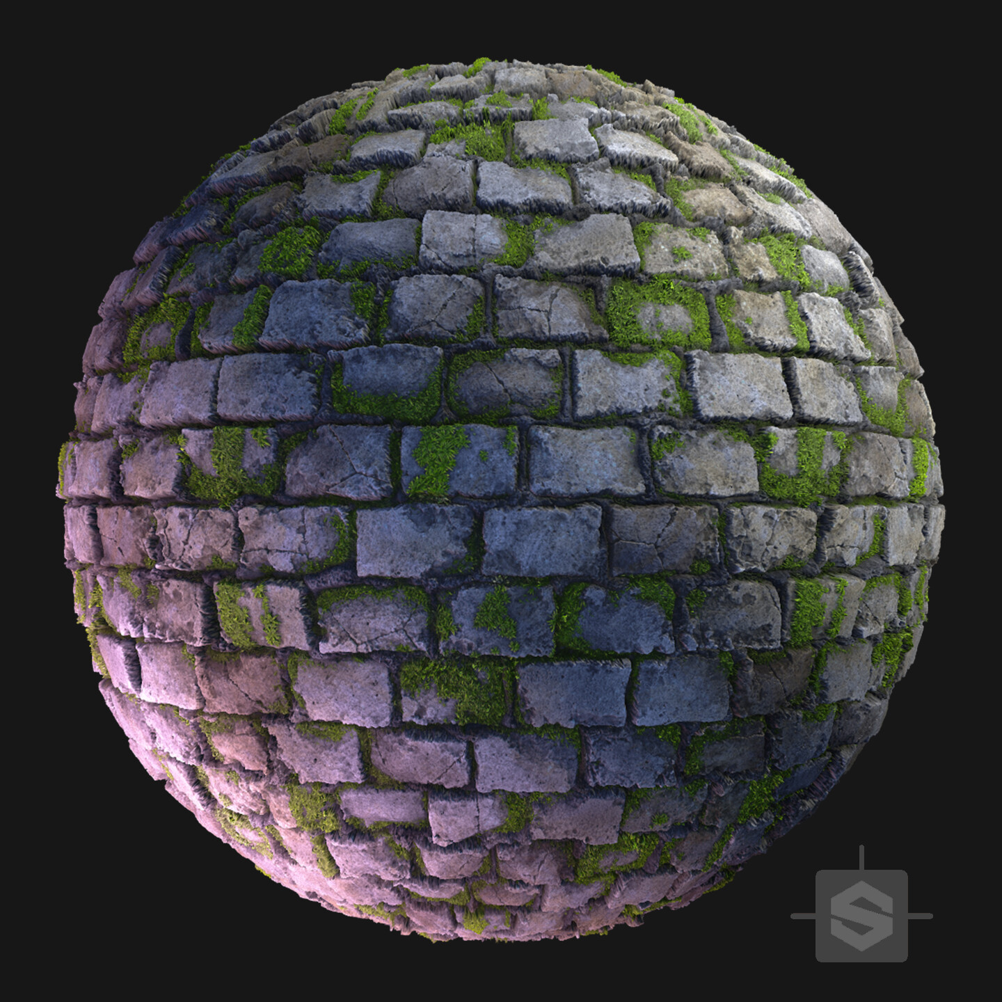 Substance Designer - Mossy Rock Wall