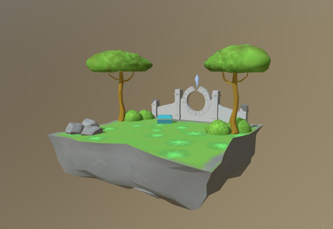 Low-Poly Fantasy Island (3D Diorama)